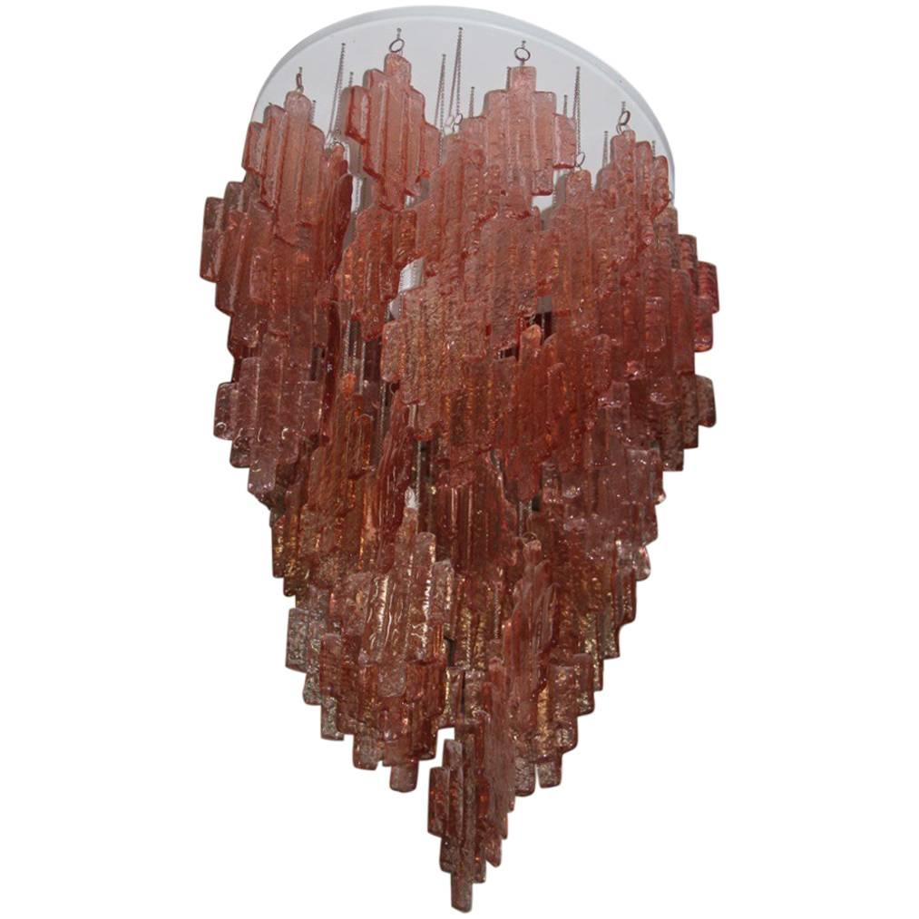 Pink Chandelier Murano Art Glass , 1970s Italian Design
