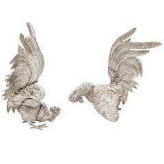 19th Century Pair of French Silver Plated Fighting Cockerels