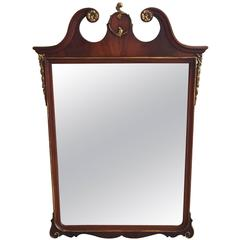 19th Century Mahogany and Gilt Crest Mirror