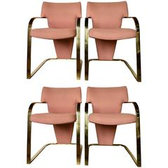 Cantilever Brass Armchairs by Carsons, Set of Four
