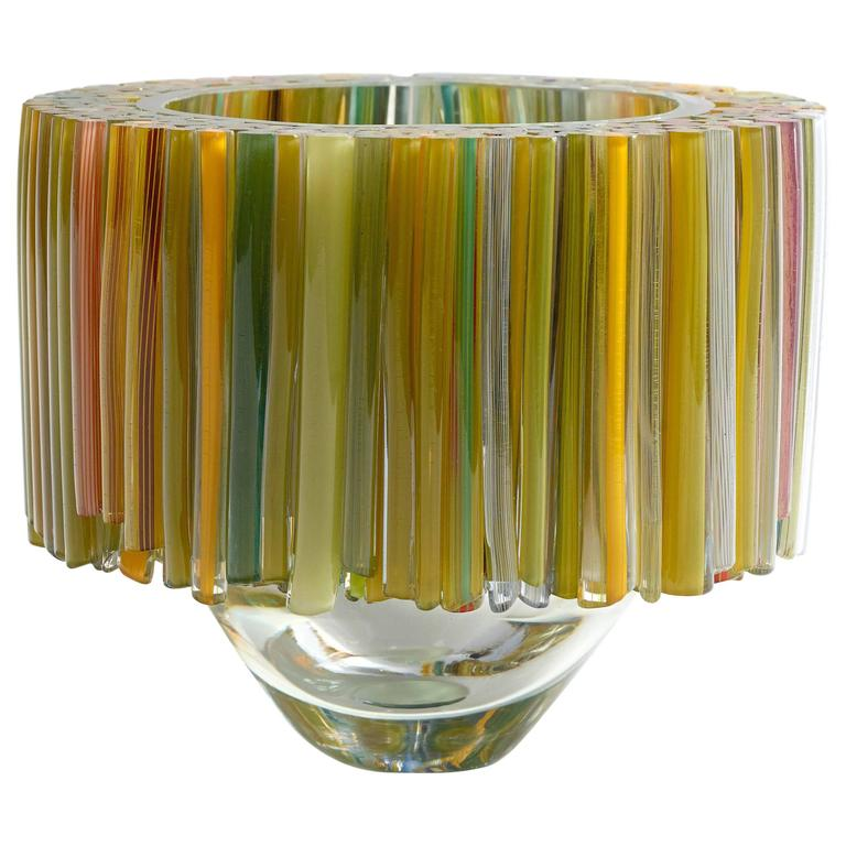 Clear Blown Glass Bowl With Green And Yellow Glass Threads