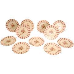Set of 11 Limoges Martin Porcelain Dinner Plates with Pink Roses and Edge Design