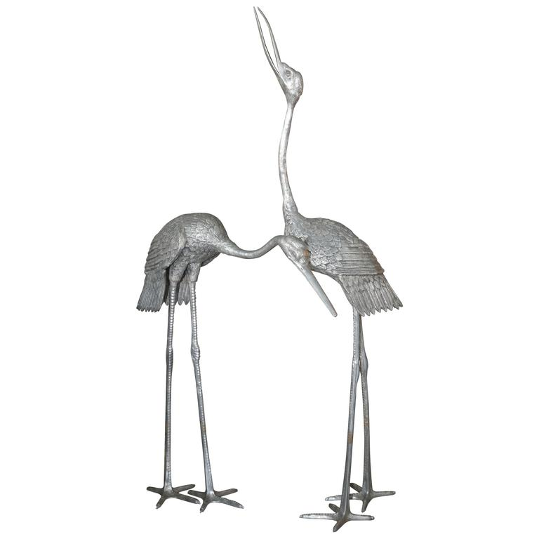 Imposing Pair of Cranes For Sale