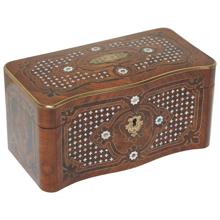 Superb Napoleon III Inlaid Tea Caddy For Sale
