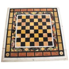 Antique Chess and Cribbage Specimen Marble Tabletop, circa 1880