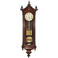 19th Century Clock, Viennese Regulator, Triple Train Movement, Brass, Steel