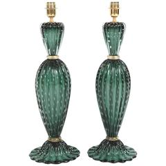 Rare Pair of Tall Italian Handblown Emerald Green Murano Glass Lamps