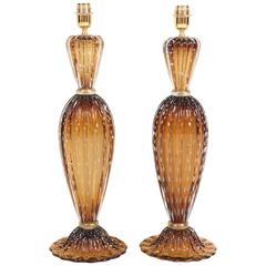 "Pair of Tall Italian Handblown Murano ""Pulegoso"" Bronze and Gold Lamps, Signed"