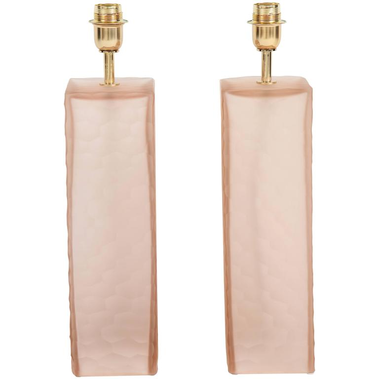 Pair of Italian Blush Pink Solid Murano Glass Textured Block Lamps 1