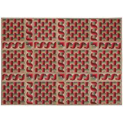 Avant-Garde 19th Century French Needlepoint Carpet
