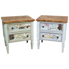 Pair of Trompe L'oeil Miniature Chests