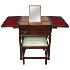 Chinese Chippendale Jewelry Chest with Vanity Stool by Baker