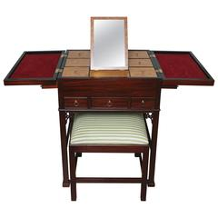 Chinese Chippendale Jewelry Chest with Vanity Stool