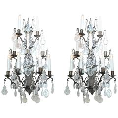 Pair of Vintage Iron and Crystal Wall Sconces