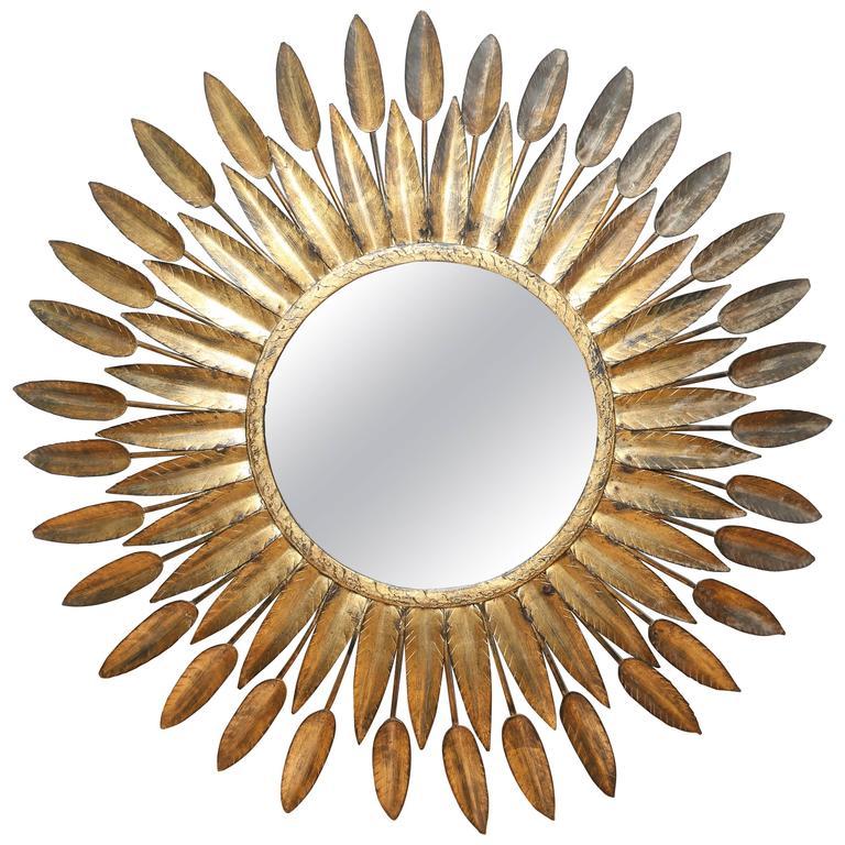 Mid-Century Italian Starburst Convex Mirror