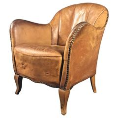 1930s Danish Cognac Leather and Studded Diminutive Club Chair