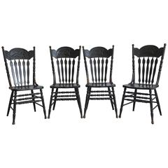 19th Century French Hunting Dog Motif Dining Chairs, Set of Four