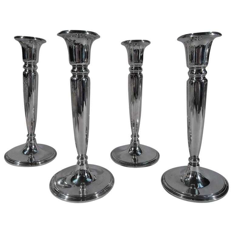 Set of Four American Modern Sterling Silver Candlesticks by Tiffany