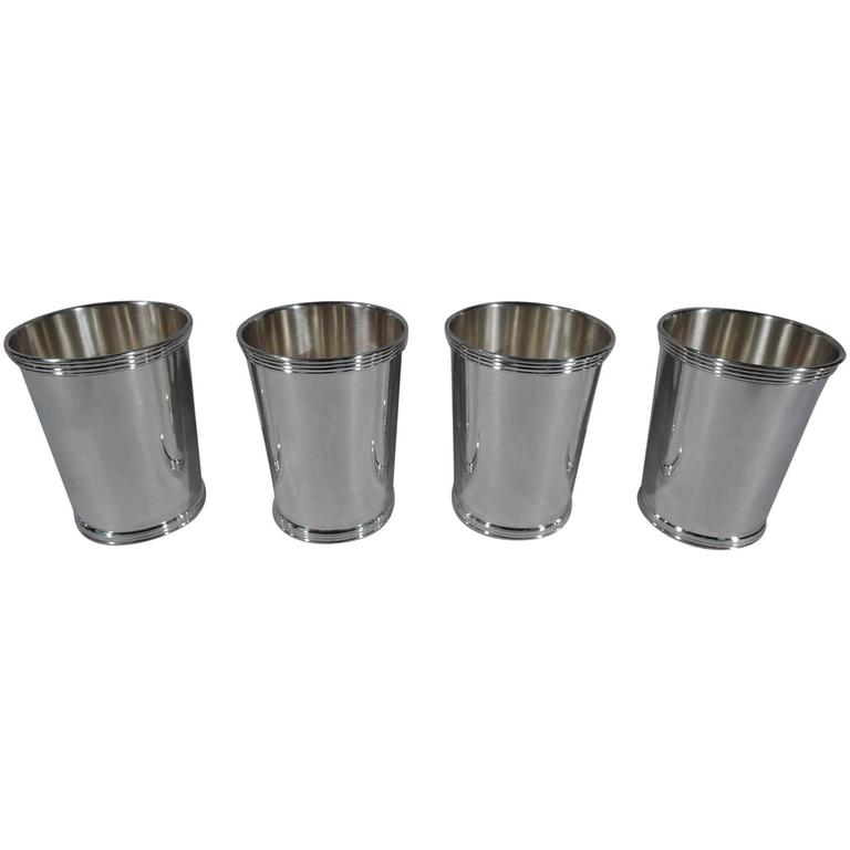 set of four cartier sterling silver mint julep cups 1