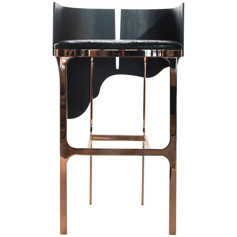 Contemporary Lava Bar Stool in Rose Gold, Leather and Bronze