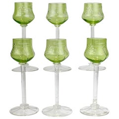 Set of Six Green Antique Etched Jugendstil Moser Style White Wine Glasses