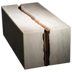 Contemporary Volca Table in Alabaster and Rose Gold