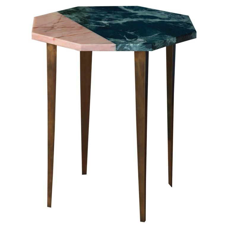 Marble Top Brass Coffee Table.Octagonal Side Table With Green And Pink Marble Top And Tapering Brass Legs