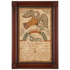 Pennsylvania Fraktur Drawing of a Spread Wing Eagle