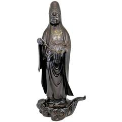 Japanese Meiji Bronze Figure of a Woman with Scroll