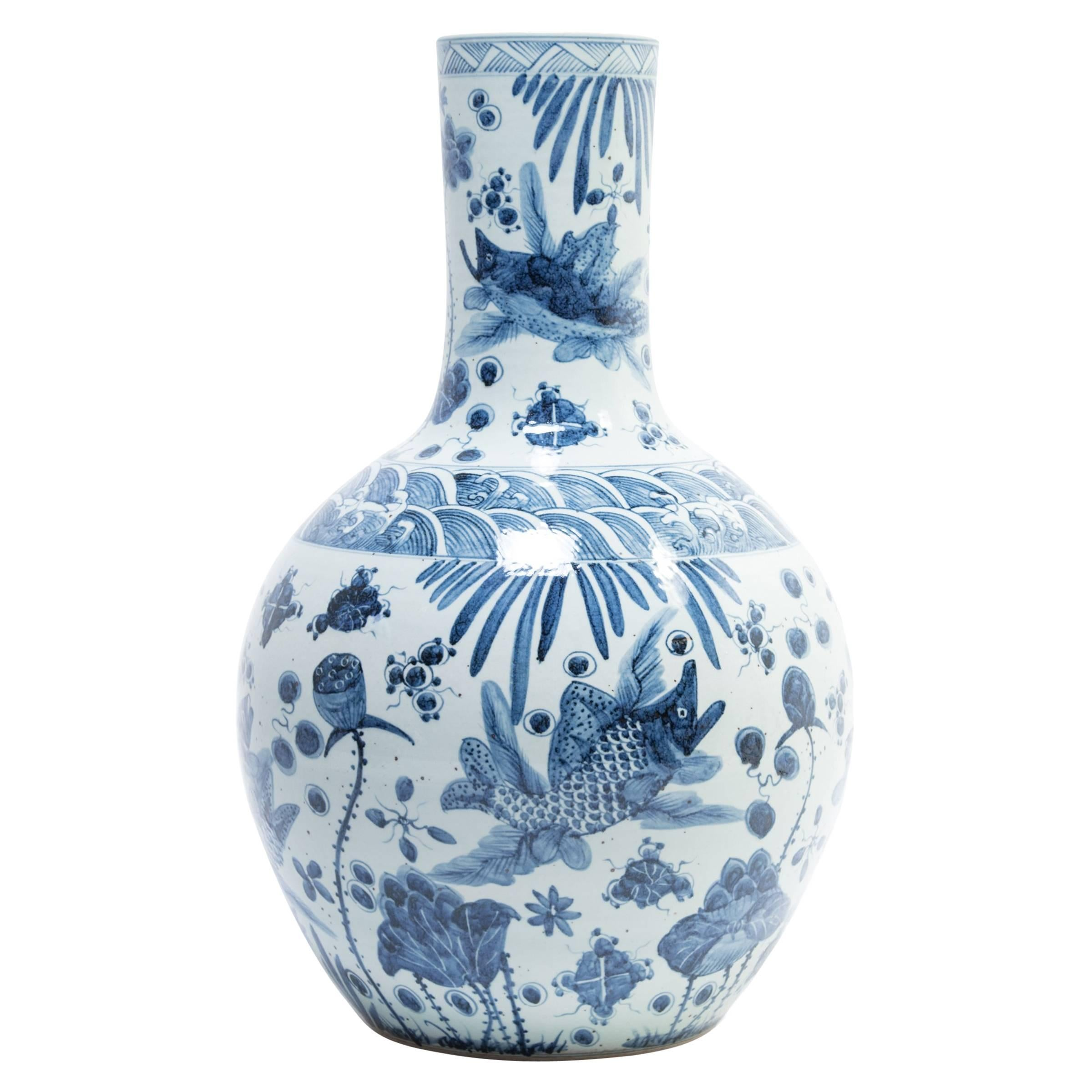 Chinese Blue and White Koi Bottleneck Vase