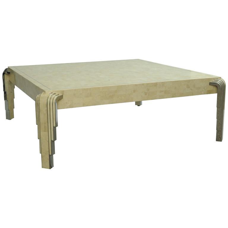 Deco Chrome Coffee Table: Oggetti Tessellated Stone And Chrome Square Coffee Table