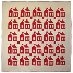 White and Red Schoolhouse Quilt with Crisp Houses