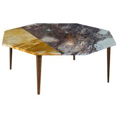 Octagonal Side Table with Violet and Yellow Marble Top and Tapering Brass Legs