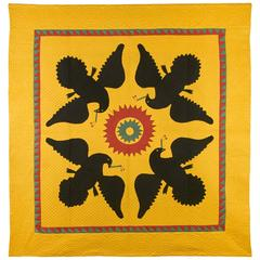 Yellow and Black Eagles Quilt