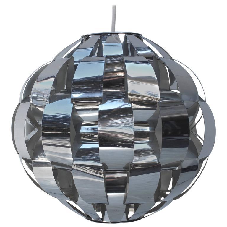 Lightolier Chromed Metal Woven Ribbon Chandelier