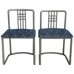1970s Frank Lloyd Wright Style Stainless Steel Chairs with Blue Velvet, Pair