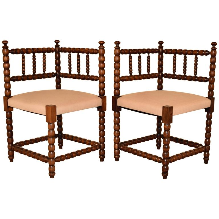 Pair of 19th Century Corner Chairs For Sale