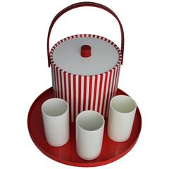 Beverage Set Combo Red and White Ice Bucket Tumblers Tray, Mid-Century Modern