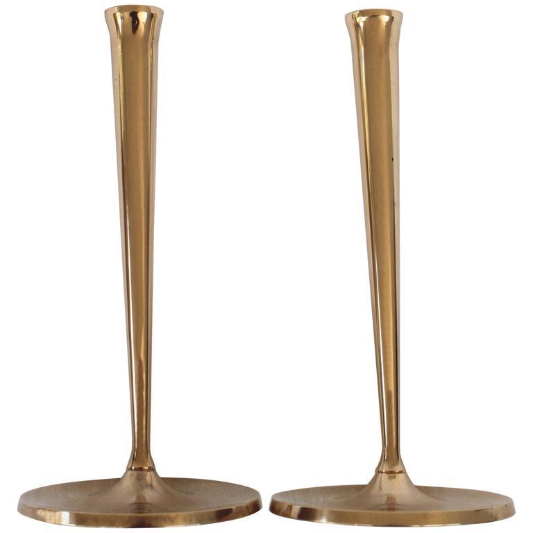 Pair of Gusums Bruk Brass Candlesticks