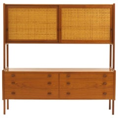 Hans Wegner Wall Unit, Room Divider or Sideboard, Rare Teak and Cane Version