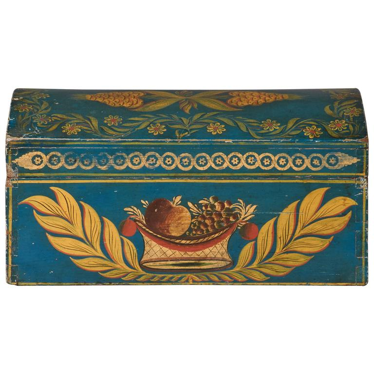Blue, Gold and Polychrome-Decorated Dome-Top Box