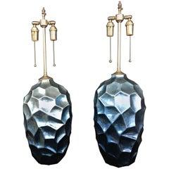 Pair of Large, Elegant Silver/Blue Leaf Vases with Lamp Application
