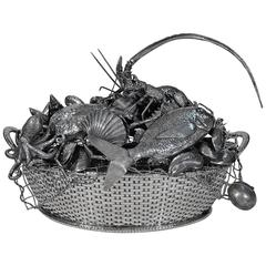 One of a Kind Mario Buccellati Sterling Silver Seafood Basket Centerpiece