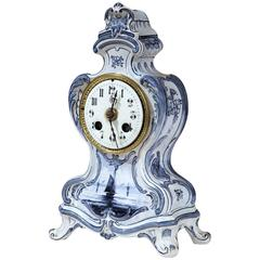 19th Century French Blue and White Hand-Painted Desk or Mantel Delft Clock