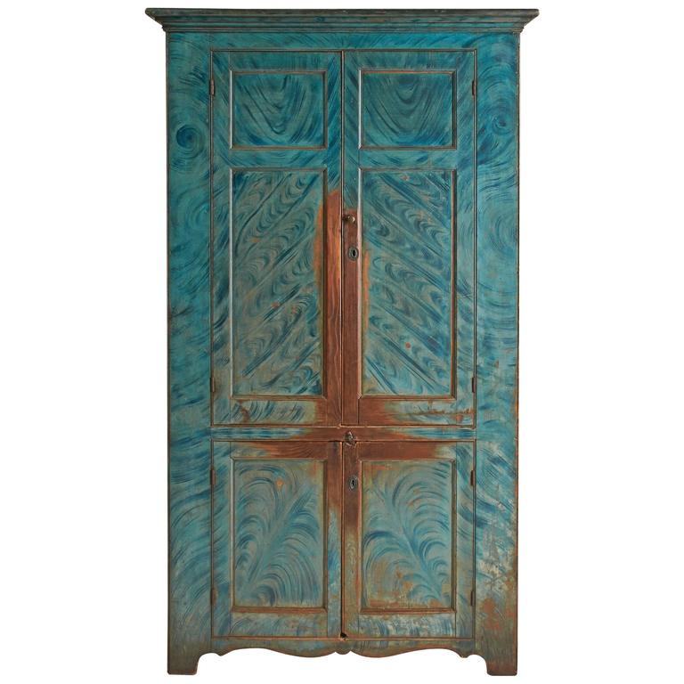 Blue Paint-Decorated Four-Door Cupboard