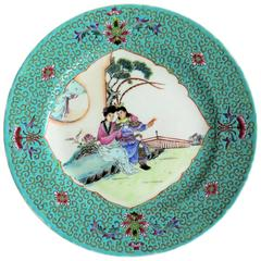 Chinese Export Plate Porcelain Hand Painted Figures , circa 1940s