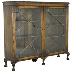 Antique Scottish Two-Door Oak Cabinet, Library Bookcase with Astragal Doors