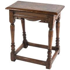 17th Century Style Jacobean English Oak Stool/Drinks Table, Great Color/Patina