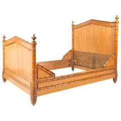 19th Century English Pine Faux Bamboo Bed Frame