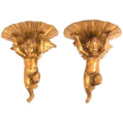 Charming Pair of 19th Century Italian Giltwood Brackets, Putti Supporting Shell